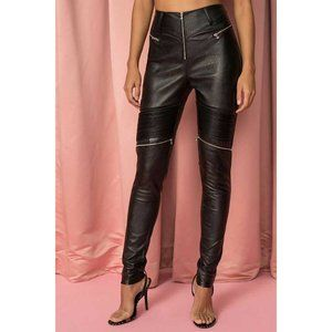 tiger Mist Nero Vegan Leather Zip Rib Panel Pants